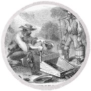 California Gold Rush, 1860 Round Beach Towel