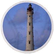 California Lighthouse In Noord Aruba Round Beach Towel