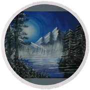 Calmness Under Moon Round Beach Towel