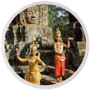 Cambodian Dancers At Angkor Thom Round Beach Towel