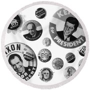 Campaign Buttons Round Beach Towel