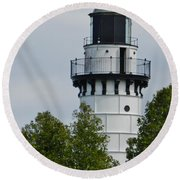 Cana Island Lighthouse Round Beach Towel