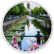 Canal And Decorated Bike In The Hague Round Beach Towel