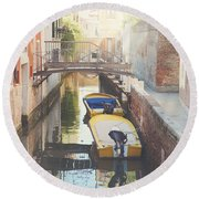 Canals Of Venice With Instagram Vintage Style Filter Round Beach Towel