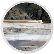 Canary Spring At Mammoth Hot Springs Upper Terraces Round Beach Towel
