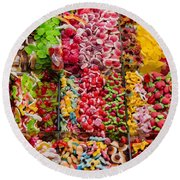 Candy Stand - La Bouqueria - Barcelona Spain Round Beach Towel