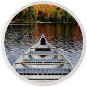 Canoe On A Lake Round Beach Towel