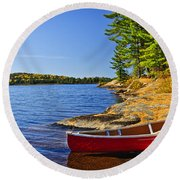 Canoe On Shore Round Beach Towel