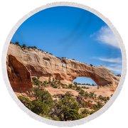 Canyon Badlands And Colorado Rockies Lanadscape Round Beach Towel