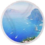 Capri Island, Italy Round Beach Towel