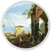 Capriccio With Motifs From Padua Round Beach Towel