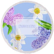 Card With Spring Flowers Round Beach Towel