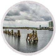 Cardiff Bay Panorama Round Beach Towel