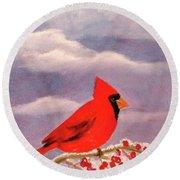 Cardinal Christmas Round Beach Towel