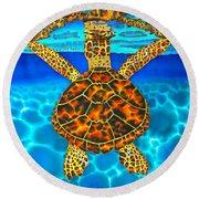 Caribbean Hawksbill Sea Turtle Round Beach Towel