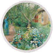 Carl Larsson, Garden Scene From Marstrand On The West Coast Of Sweden. Round Beach Towel