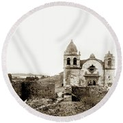 Carmel Mission By A.j. Perkins 1880 Round Beach Towel
