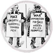 Cartoon: U.s. Neutrality Round Beach Towel