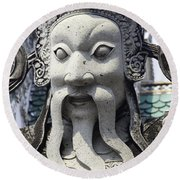 Carved Monk Statue Round Beach Towel
