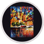 Castle By The River Round Beach Towel