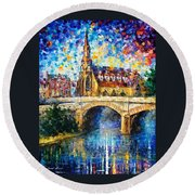 Castle By The River - Palette Knife Oil Painting On Canvas By Leonid Afremov Round Beach Towel
