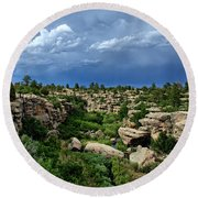 Castlewood Canyon And Rain Round Beach Towel