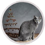 Cat Christmas Round Beach Towel