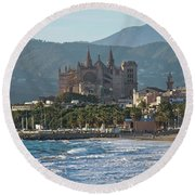 Cathedral And City Beach With People  Round Beach Towel