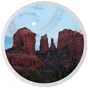 Cathedral Rock Moon 081913 A2 Round Beach Towel