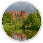 Cathedral Rock Rainbow Round Beach Towel
