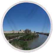 Cattle Of Saint Louis In Aigues Morte Round Beach Towel