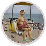 Caveman Above Beach Santa Cruz Boardwalk Round Beach Towel