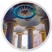 Ceiling Boss And Columns, Park Guell, Barcelona Round Beach Towel