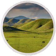 Central Valley California Round Beach Towel