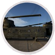 Ch-47 Chinook Helicopter On The Tarmac Round Beach Towel
