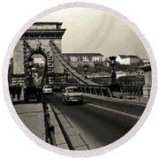 Chain Bridge Of Budapest In 1990 Round Beach Towel