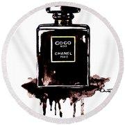 Chanel Noir Perfume Round Beach Towel