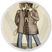 Chang And Eng, Siamese Twins Round Beach Towel