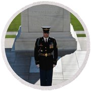 Changing Of Guard At Arlington National Round Beach Towel by Terry Moore