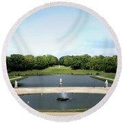 Chantilly Castle Garden In France Round Beach Towel