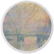Charing Cross Bridge Round Beach Towel by Claude Monet