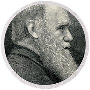 Charles Darwin, English Naturalist Round Beach Towel