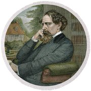 Charles Dickens Round Beach Towel