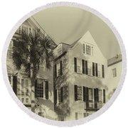 Charleston Style Houses Round Beach Towel