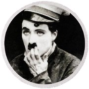 Charlie Chaplin, Vintage Actor And Comedian Round Beach Towel