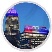 Charlotte North Carolina Skyline City View Round Beach Towel