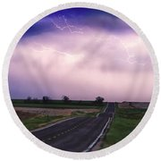 Chasing The Storm - County Rd 95 And Highway 52 - Colorado Round Beach Towel