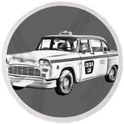 Checkered Taxi Cab Illustrastion Round Beach Towel