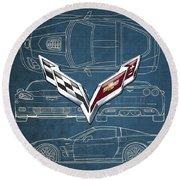 Chevrolet Corvette 3 D Badge Over Corvette C 6 Z R 1 Blueprint Round Beach Towel