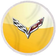 Chevrolet Corvette 3d Badge On Yellow Round Beach Towel